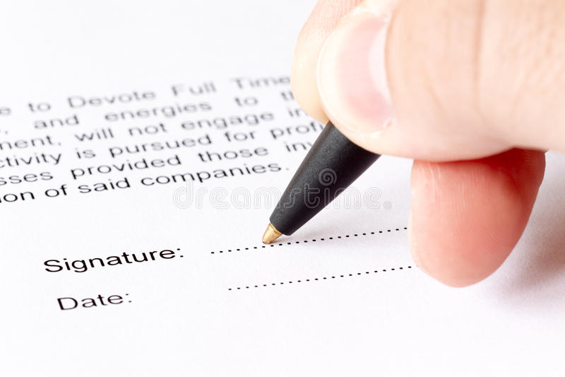 文件签字 免版税库存照片