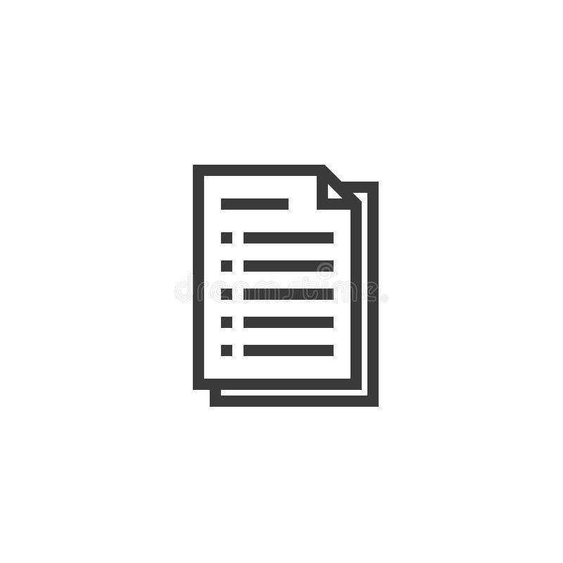 文件纸概述象 在稀薄的线型的被隔绝的便条纸象图表和网络设计的 简单的平的标志映象点穿孔机 库存例证