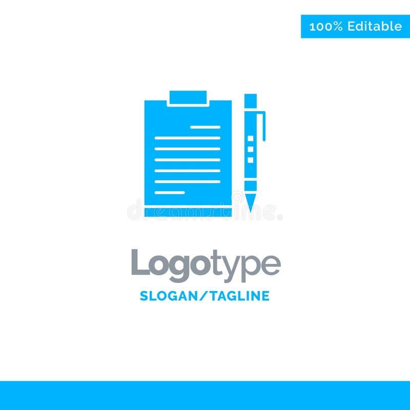 文件,事务,剪贴板,文件,页,计划,板料蓝色坚实商标模板 r 库存例证