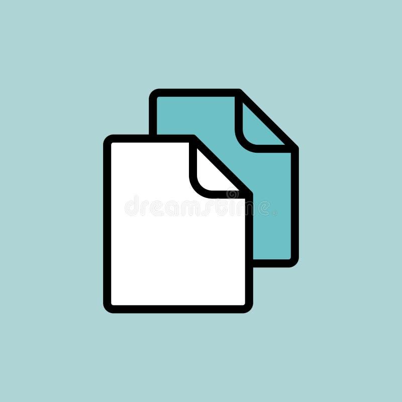 文件,在蓝色背景的空白的象 向量例证