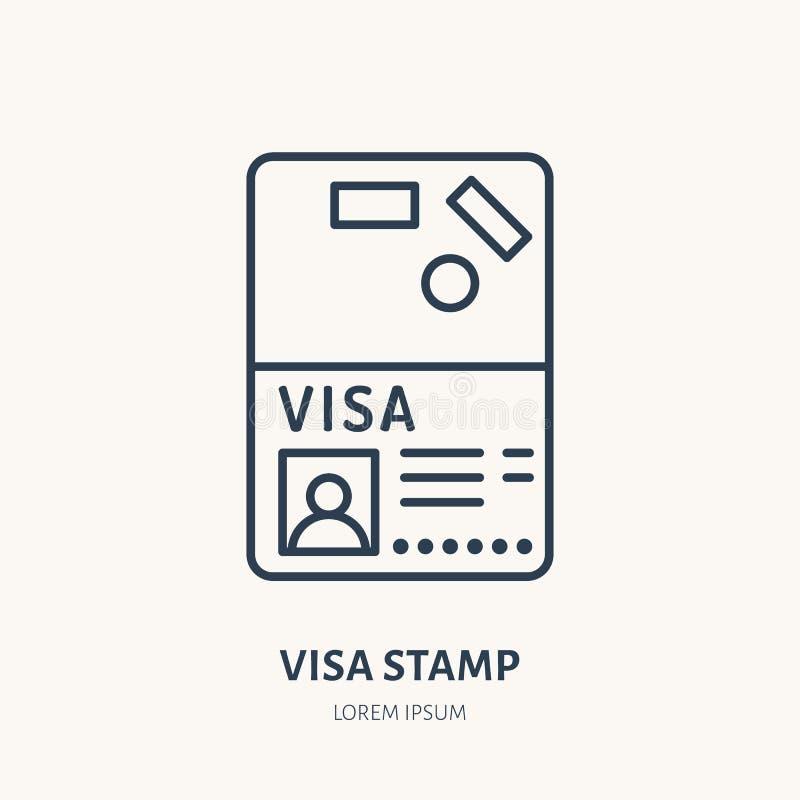 文件,身分传染媒介平的线象 签证图章,护照标志 向量例证