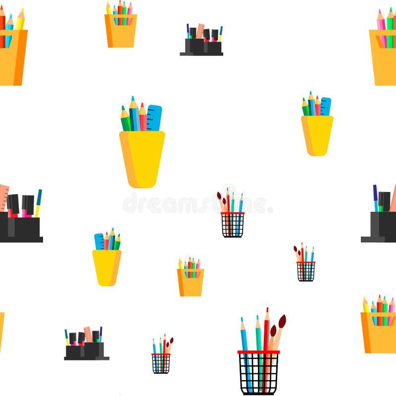 文具无缝的样式传染媒介 学校,营业所象 笔,铅笔 逗人喜爱的图表纹理 纺织品背景 向量例证