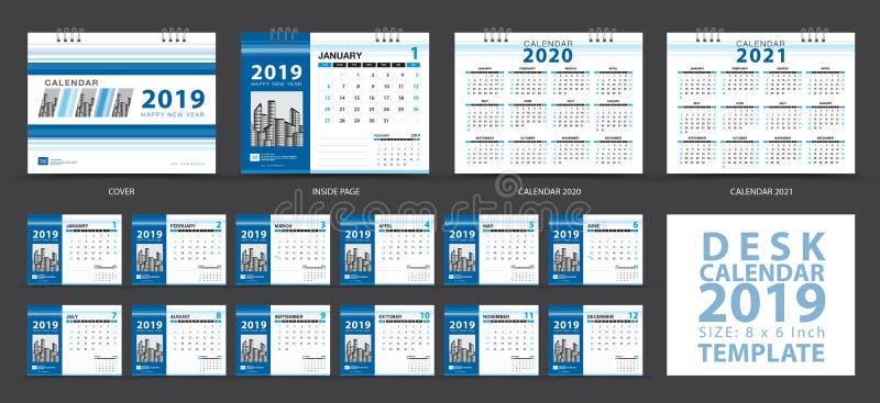 文具设计,在星期天桌面日历2019年模板,套12个月,排进日程2020-2021艺术品,计划者,星期开始 库存例证