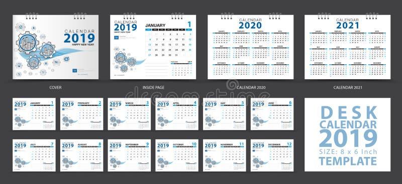 文具设计,在星期天桌面日历2019年模板,套12个月,排进日程2020-2021艺术品,计划者,星期开始 皇族释放例证
