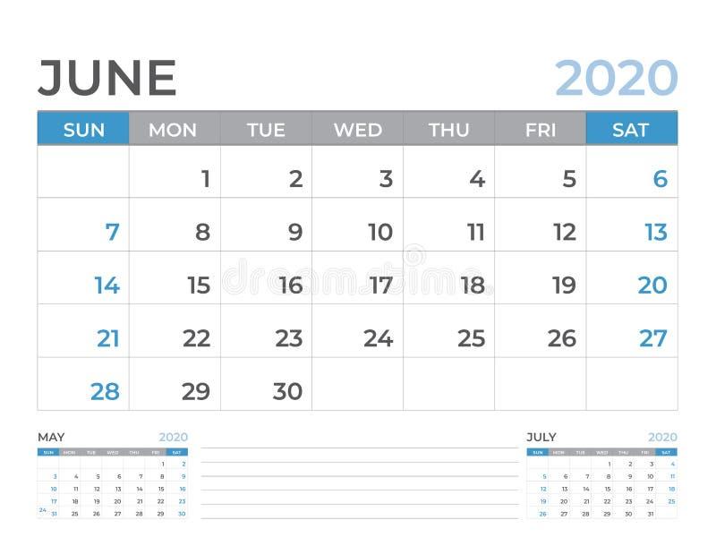 文具设计,在星期天6月2020日历模板,桌面日历布局大小8 x 6英寸,计划者设计,星期开始 向量例证