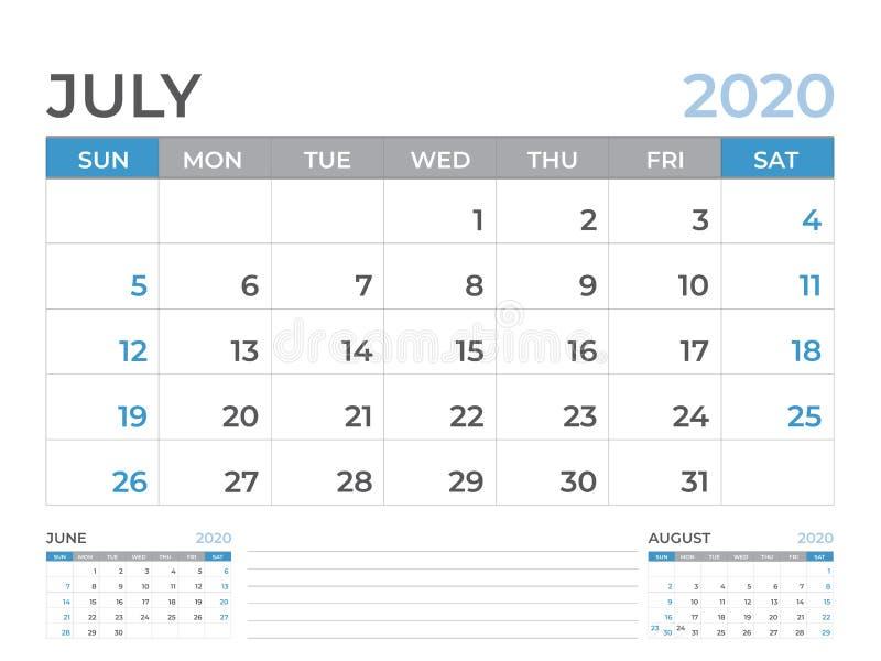 文具设计,在星期天6月2020日历模板,桌面日历布局大小8 x 6英寸,计划者设计,星期开始 皇族释放例证