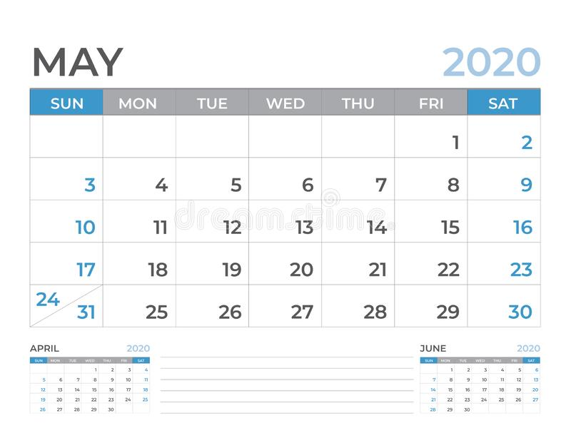 文具设计,在星期天5月2020日历模板,桌面日历布局大小8 x 6英寸,计划者设计,星期开始 库存例证