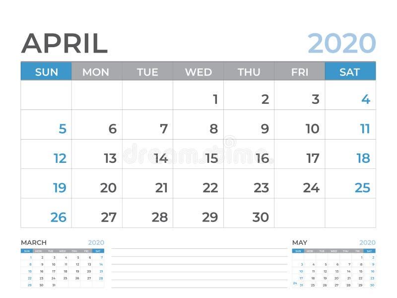 文具设计,在星期天4月2020日历模板,桌面日历布局大小8 x 6英寸,计划者设计,星期开始 库存例证