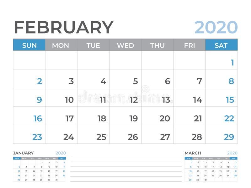 文具设计,在星期天2月2020日历模板,桌面日历布局大小8 x 6英寸,计划者设计,星期开始 皇族释放例证