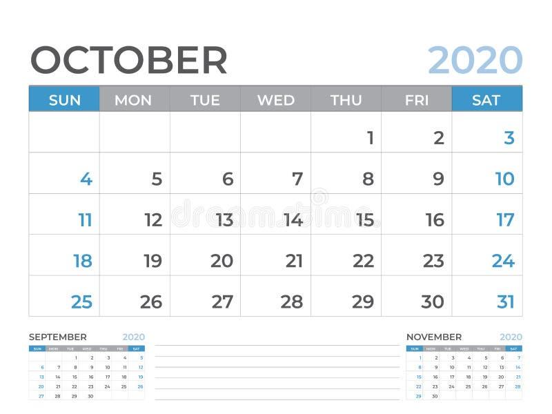 文具设计,在星期天10月2020日历模板,桌面日历布局大小8 x 6英寸,计划者设计,星期开始 皇族释放例证