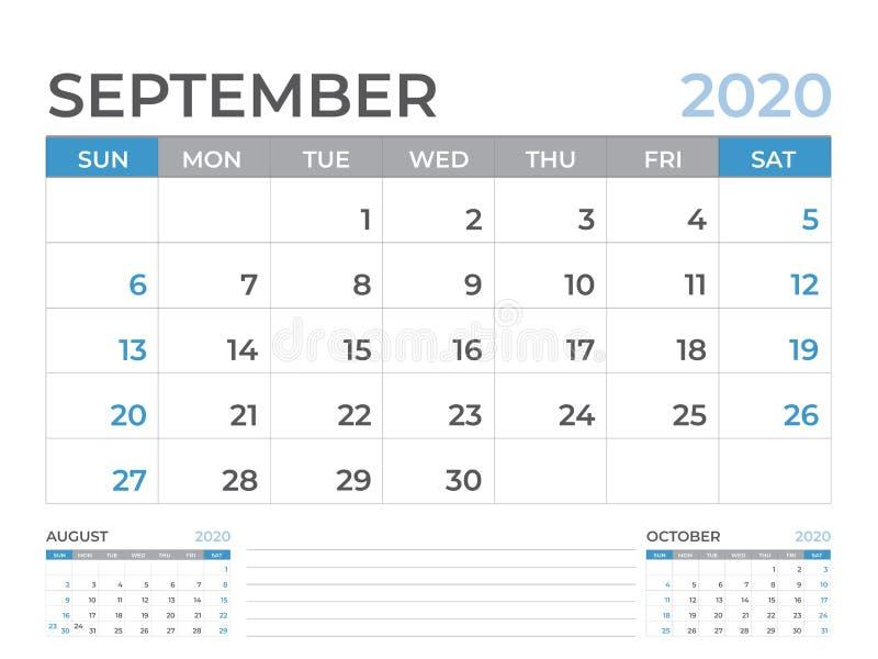 文具设计,在星期天9月2020日历模板,桌面日历布局大小8 x 6英寸,计划者设计,星期开始 库存例证