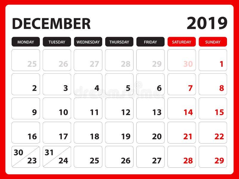 文具设计, 2019年12月模板的在星期天桌面日历,可印的图片