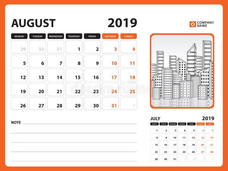 文具设计, 2019年8月模板的在星期天桌面日历,可印的日历,计划者设计图片