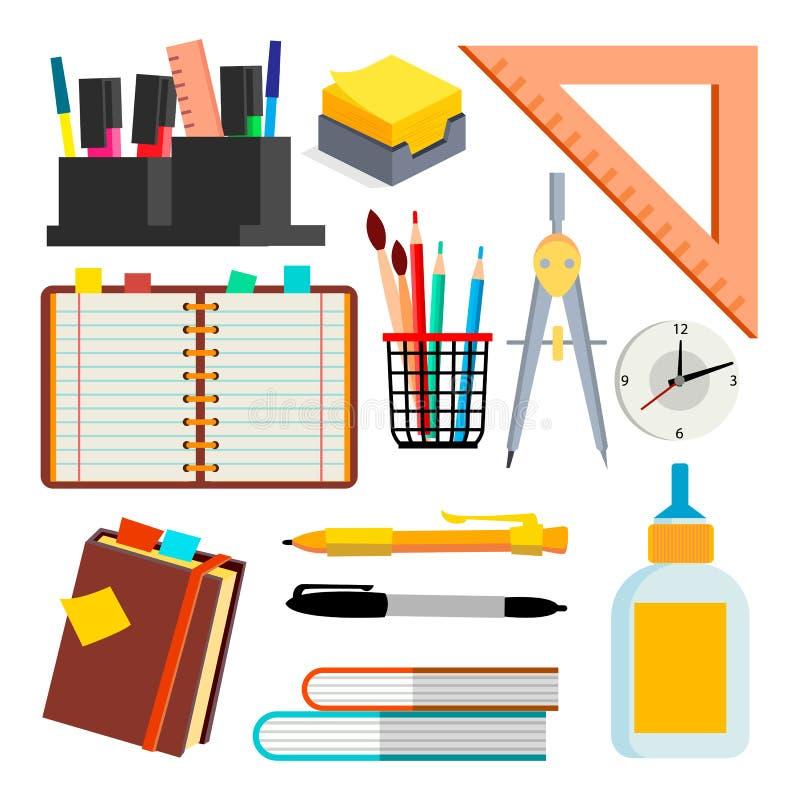 文具象导航 笔,铅笔,笔记本,统治者 被隔绝的平的动画片例证 库存例证