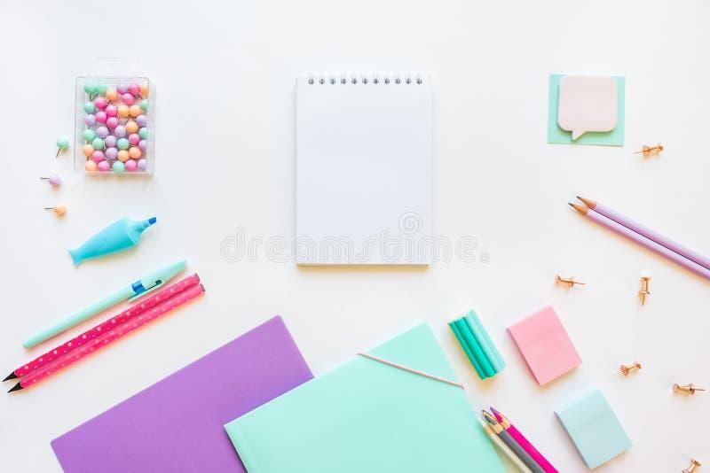 文具,女孩集合在轻淡优美的色彩下 在白色背景,flatlay,隔绝,假装  r r 库存照片