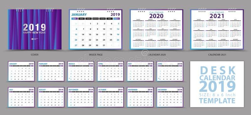 文具desig,在星期天桌面日历2019年模板,套12个月,日历2019年2020年,2021年艺术品,计划者,星期开始 向量例证