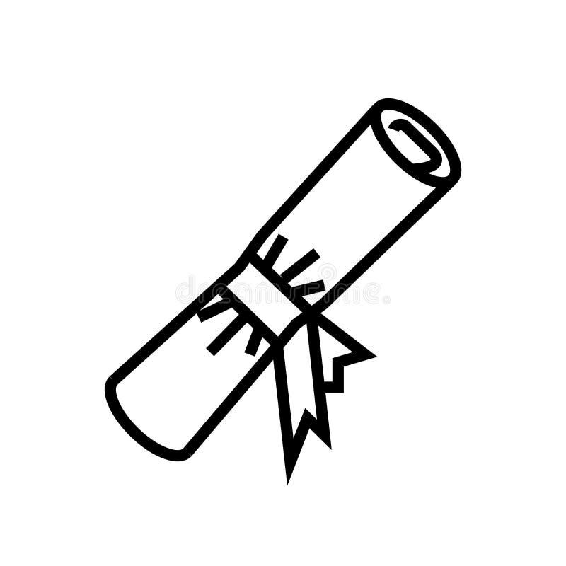 文凭卷在白色背景、文凭卷标志、线性标志和冲程设计元素隔绝的象传染媒介在概述 库存例证