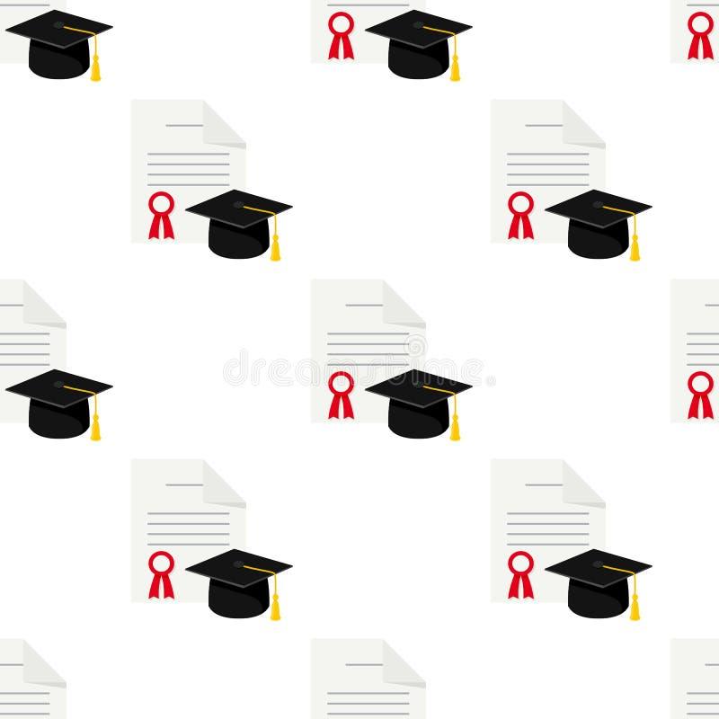 文凭和毕业无缝的样式 皇族释放例证