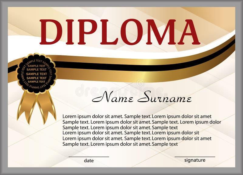 文凭或证明 金子和黑色装饰元素 赢取竞争 奖优胜者 奖励 向量 库存例证