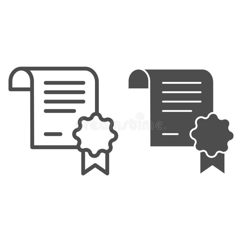 文凭文件线和纵的沟纹象 在白色隔绝的被证明的纸传染媒介例证 与邮票的证明 皇族释放例证