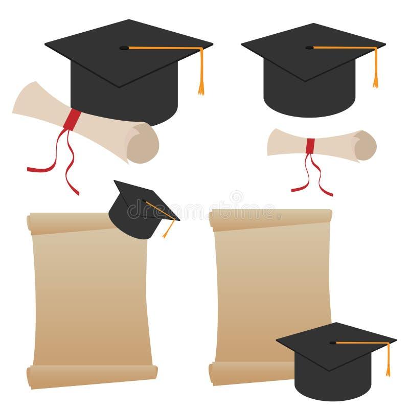 文凭毕业帽子 向量例证