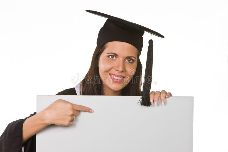文凭毕业的妇女年轻人 免版税库存照片