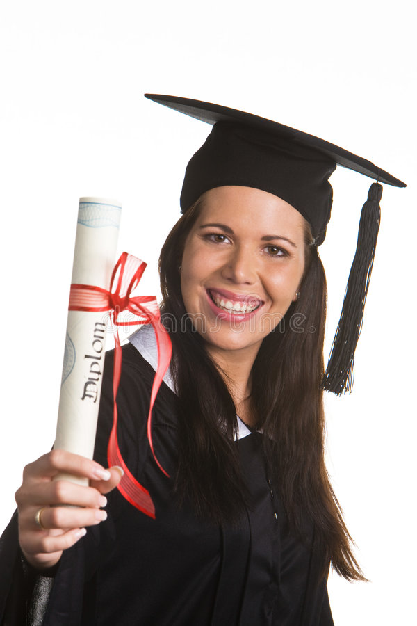 文凭毕业的妇女年轻人 库存图片