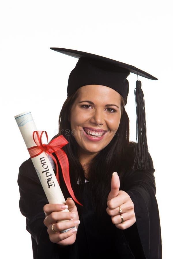 文凭毕业的妇女年轻人 免版税库存图片