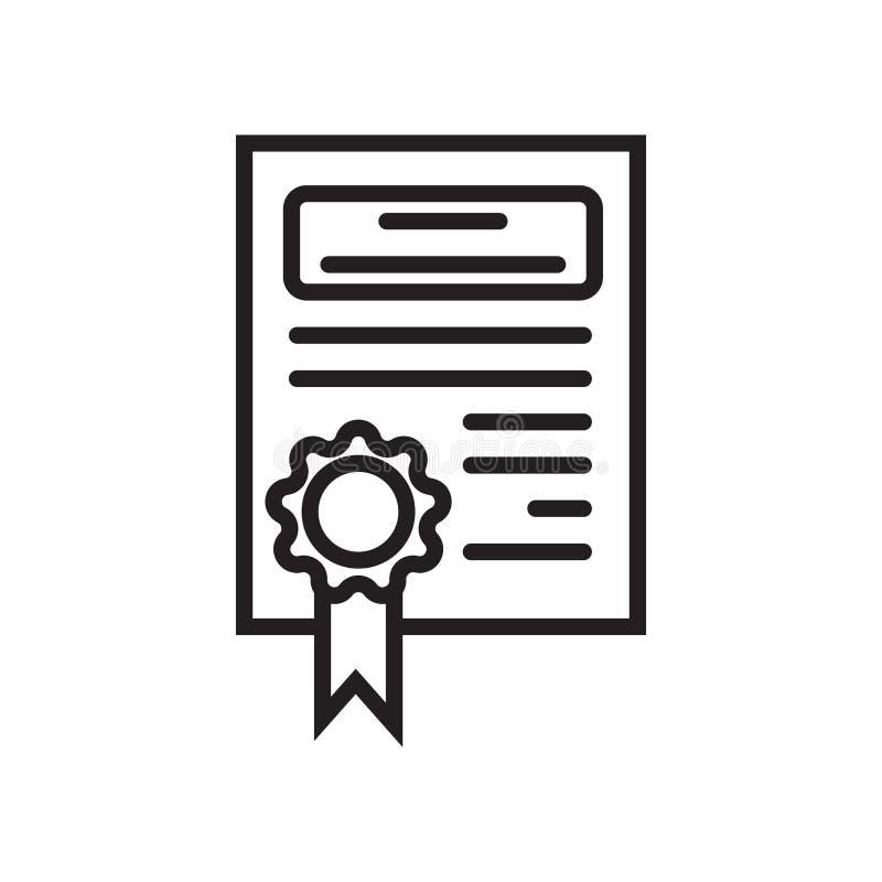 文凭象在白色背景和标志隔绝的传染媒介标志,文凭商标概念 向量例证