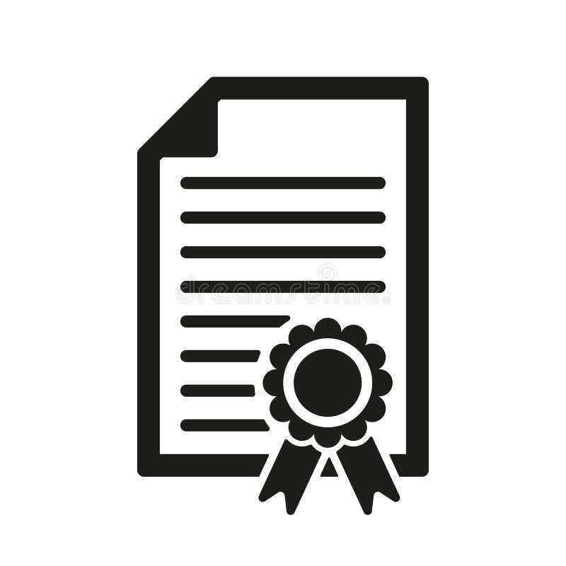 文凭象 证明标志 平面 向量例证