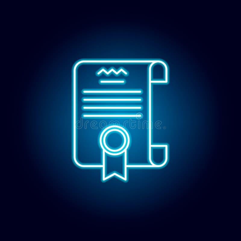 文凭,证明在霓虹样式的概述象 教育例证线象的元素 标志,标志可以为网使用 向量例证