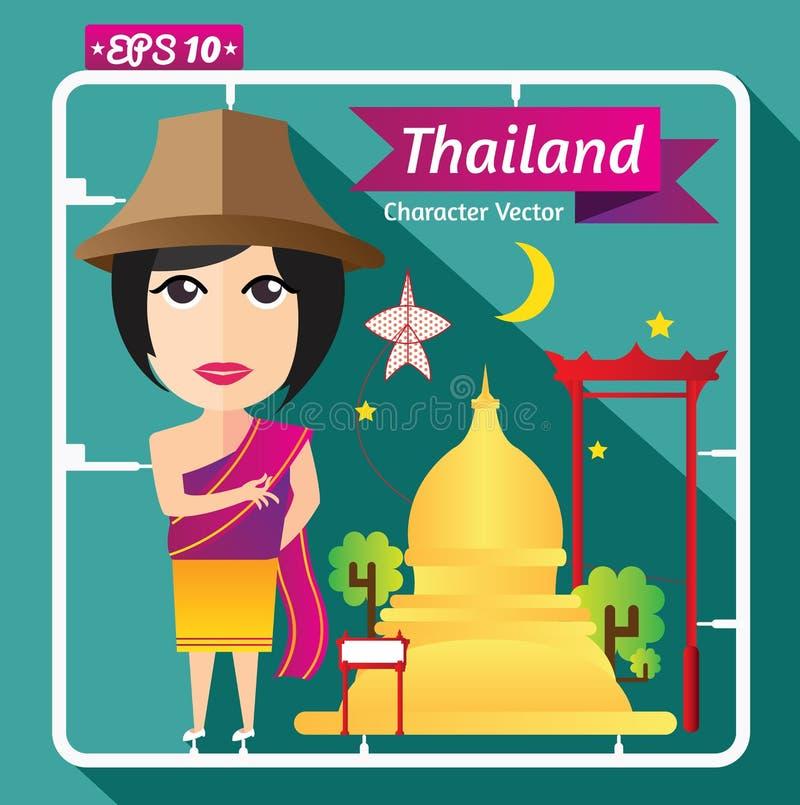文化和女孩字符,平的设计泰国  免版税图库摄影