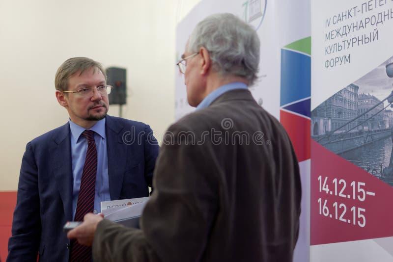 文化部长代理俄罗斯联邦亚历山大Zhuravsky  免版税库存照片
