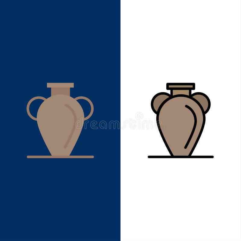 文化,希腊,历史,国家,花瓶象 舱内甲板和线被填装的象设置了传染媒介蓝色背景 皇族释放例证