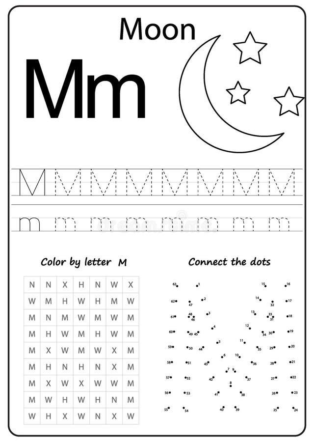 文字信件M 工作表 文字A-Z,字母表,行使孩子的比赛 库存例证