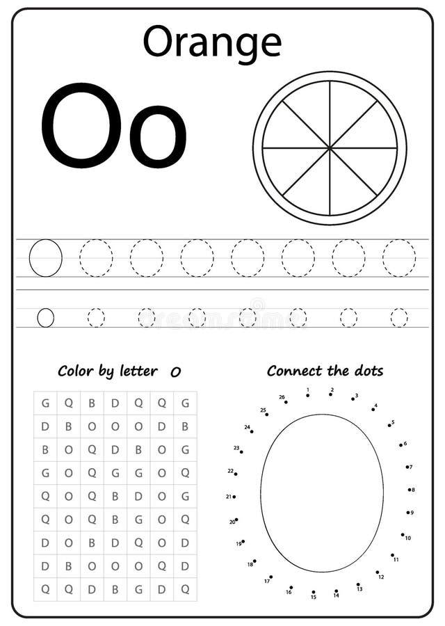 文字信件O 工作表 文字A-Z,字母表,行使孩子的比赛 向量例证