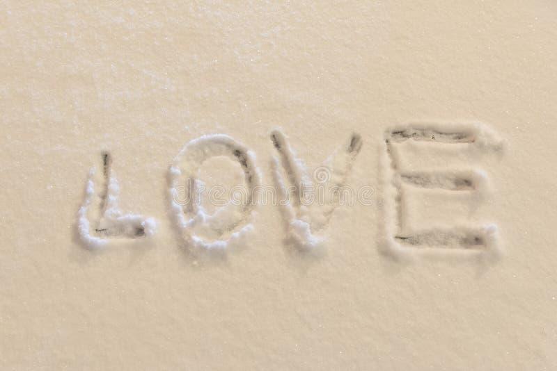 文字在雪的文本爱 图库摄影