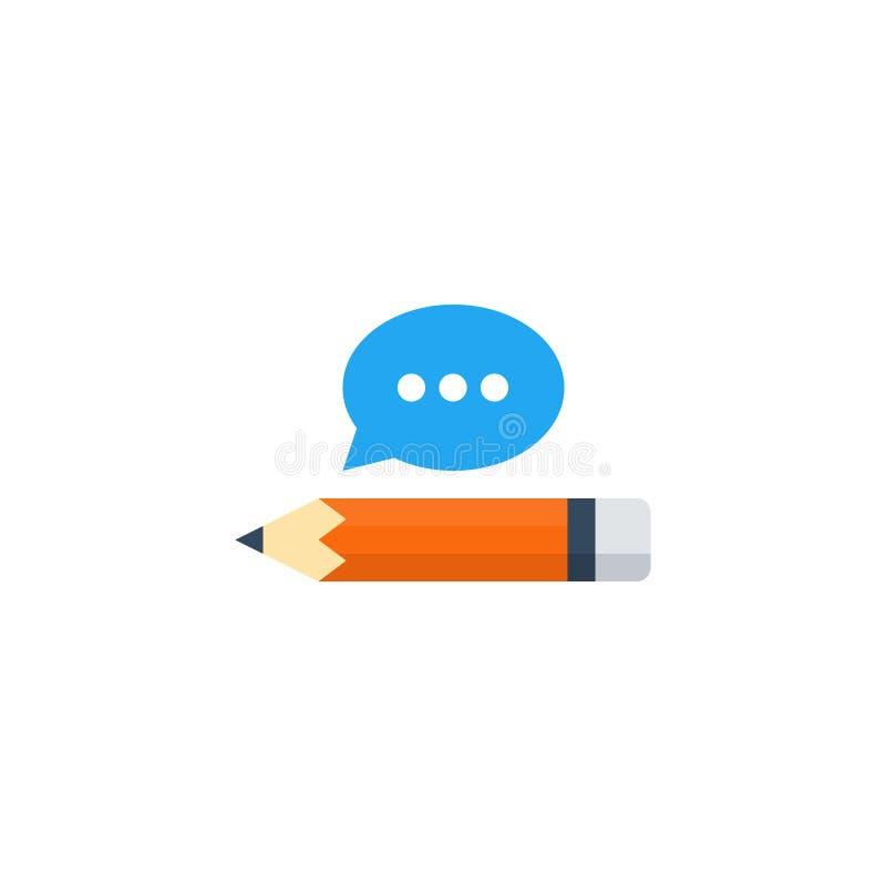 文字技巧改善,有讲话泡影的铅笔 向量例证