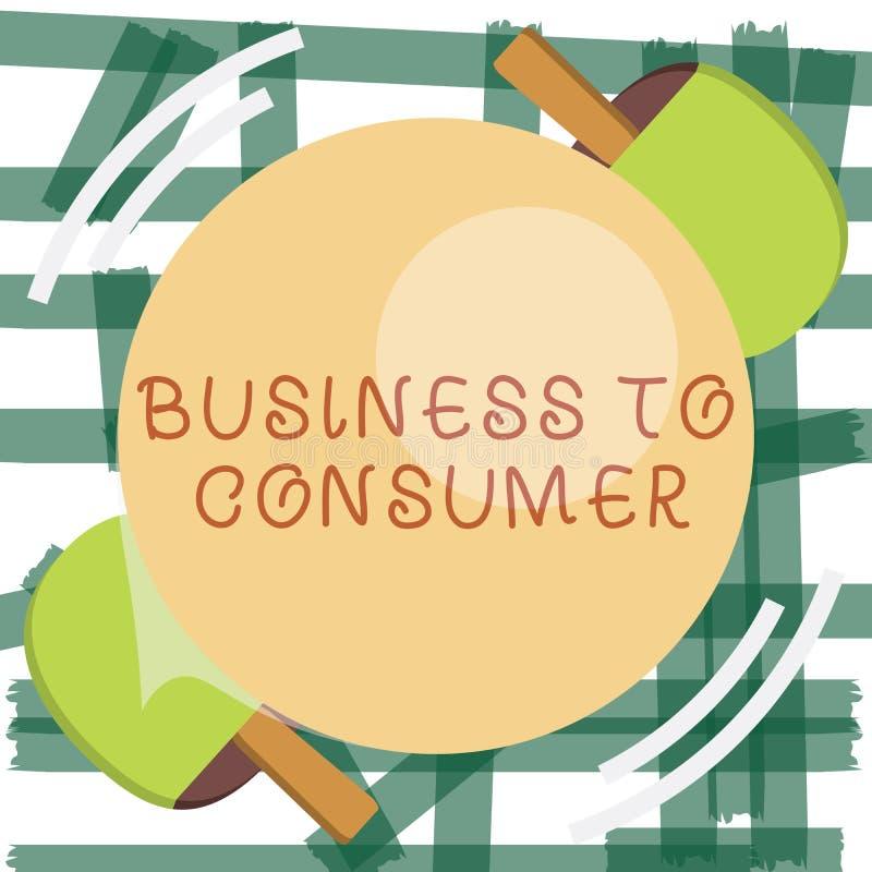文字笔记对消费者的演艺界 陈列在公司和终端用户之间的企业照片直接交易 库存例证