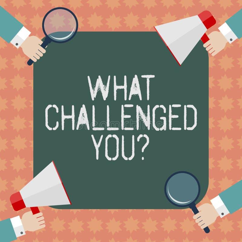 文字笔记显示什么向您挑战 企业照片陈列告诉某人参加竞争情况 库存例证