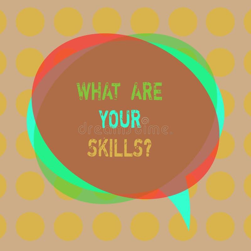文字笔记显示什么是您的Skillsquestion 企业照片陈列告诉我们您的能力知识经验空白 图库摄影