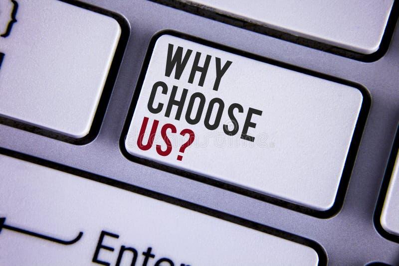 文字笔记陈列为什么选择我们问题 企业照片陈列的原因选择我们的书面的服务产品或提议 免版税库存图片