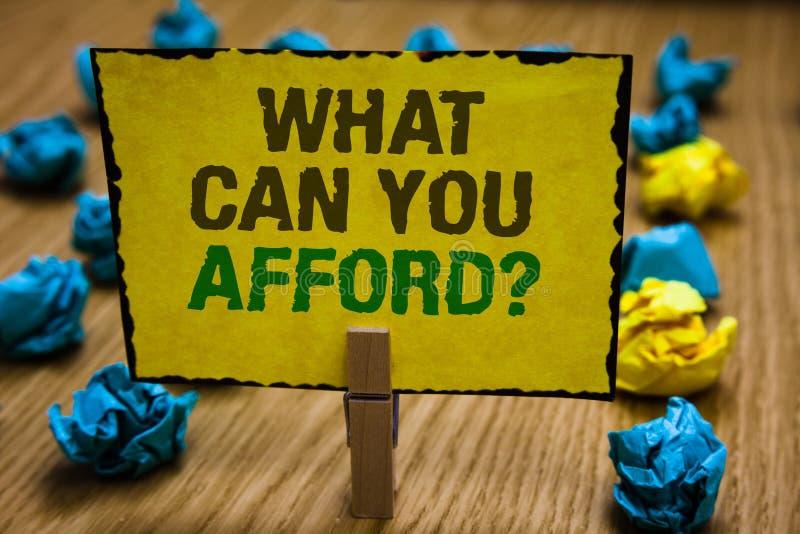 文字笔记陈列什么可能您买得起问题 企业照片陈列给我们您的金钱纸夹g的预算可及性 免版税库存照片