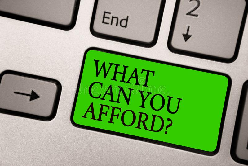 文字笔记陈列什么可能您买得起问题 企业照片陈列给我们您的金钱银灰色的预算可及性 免版税库存照片