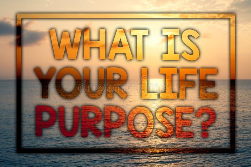 文字笔记陈列什么是您的生活目的问题 陈列个人决心目标的企业照片达到目标Sunse 向量例证