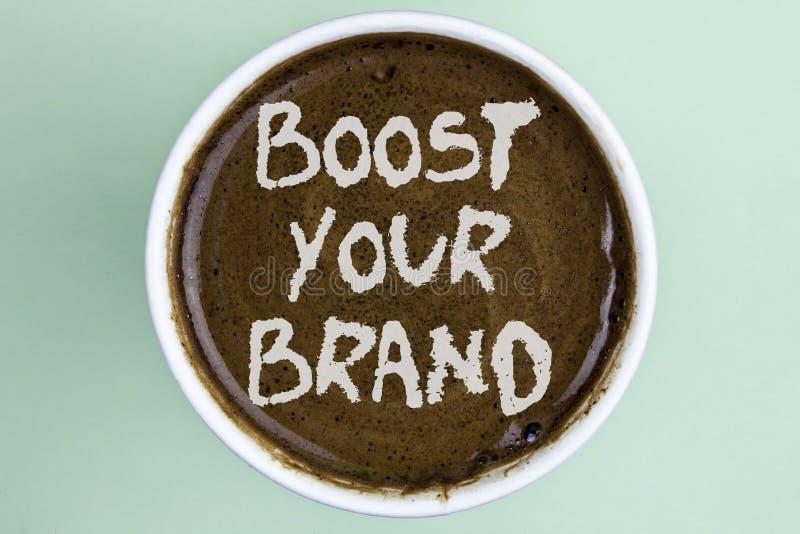文字笔记陈列助力您的品牌 企业照片陈列改进您的在您的领域被克服的竞争者命令的模型名字 图库摄影