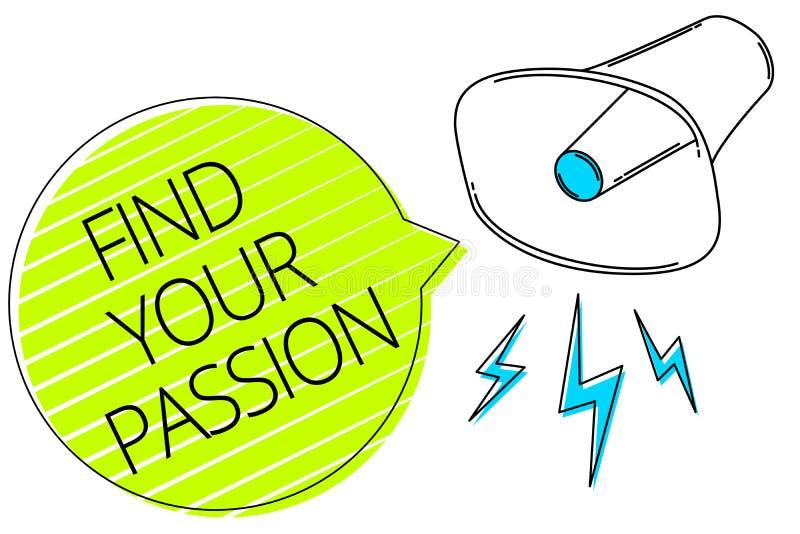 文字笔记陈列发现您的激情 企业照片陈列的寻求梦想发现最佳的工作或活动做什么您爱三林 向量例证