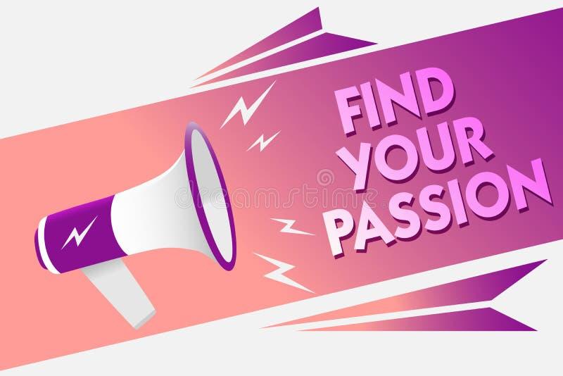 文字笔记陈列发现您的激情 企业照片陈列的寻求梦想发现最佳的工作或活动做什么您爱合理的spe 库存例证