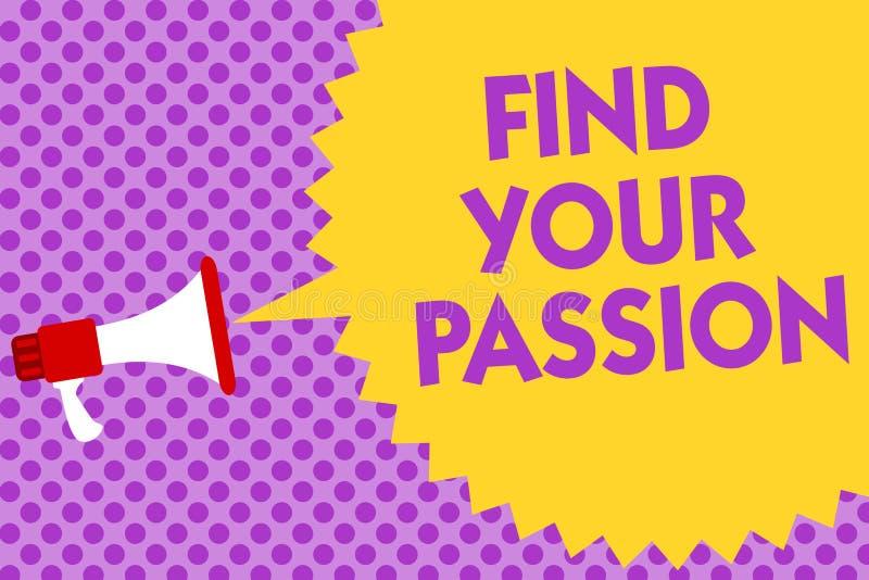 文字笔记陈列发现您的激情 企业照片陈列的寻求梦想发现最佳的工作或活动做什么您爱多行 向量例证