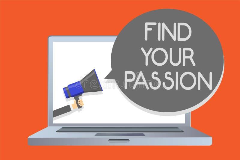 文字笔记陈列发现您的激情 企业照片陈列的寻求梦想发现最佳的工作或活动做什么您爱网络m 库存例证